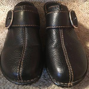 Born Shoes - Born Black Leather Wedge Clogs